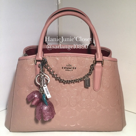30b6a726eb259 ♨️COACH SIGNATURE DEBOSSED PATENT SMALL MARGOT BAG
